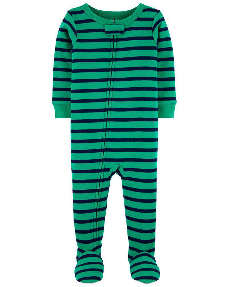 商品 1-Piece Striped Snug Fit Cotton Footie PJs 图