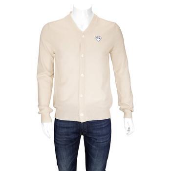 商品Comme Des Garcons Mens Natural Play Cardigan With White Heart, Brand Size X-Large图片