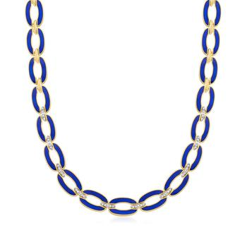 商品Ross-Simons Diamond and Blue Enamel Link Necklace in 18kt Gold Over Sterling图片