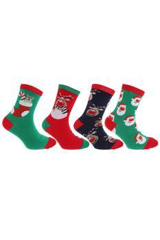 商品FLOSO Childrens/Kids Big Girls Christmas Character Novelty Socks (Pack Of 4) (Navy/Green/Red)图片