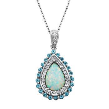 商品925 Couture Sterling Silver Created Opal, Blue Topaz, & Created White Sapphire Teardrop Pendant, 18''图片