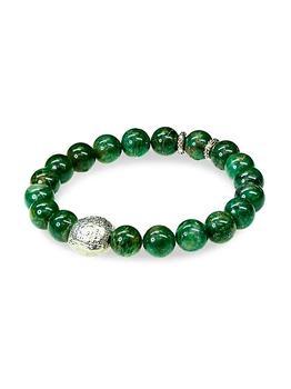 商品Sterling Silver & African Jade Beaded Bracelet图片