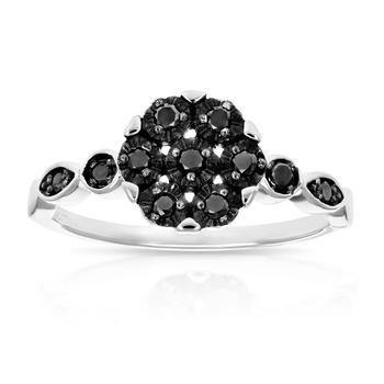 商品1/4 cttw Black Diamond Engagement Ring .925 Sterling Silver Cluster Composite图片