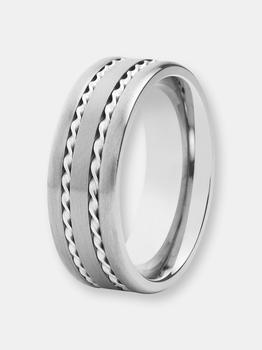 商品Crucible Titanium Brushed Double Silver Rope Inlay Ring图片