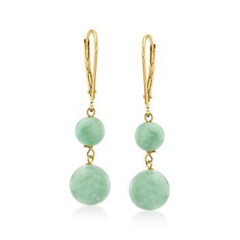商品Ross-Simons Jade Double-Bead Drop Earrings in 14kt Yellow Gold图片
