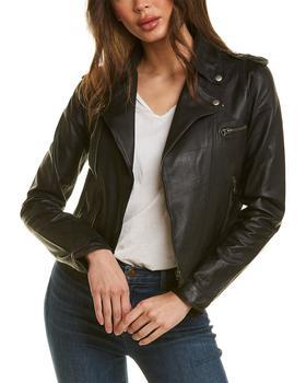 商品Jakett Daisy Frida Printed Short Leather Jacket图片