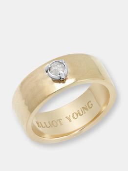 """商品""""Liquid Metal"""" 14K Yellow Gold Wide Hammered Band with Natural Rose Cut Diamond, Ruby, Or Turquoise图片"""
