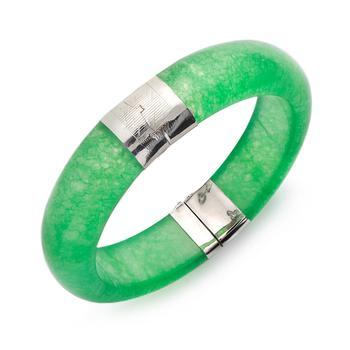 商品Sterling Silver Bracelet, Jade Bangle图片