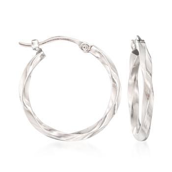商品Ross-Simons 14kt White Gold Twist-Motif Hoop Earrings图片