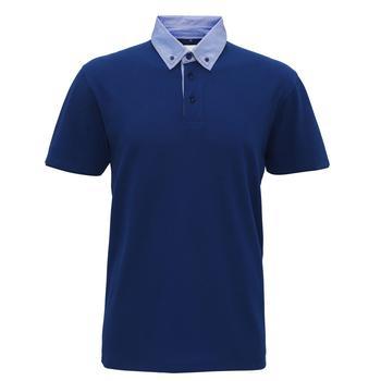 商品Asquith & Fox Mens Chambray Button Down Collar Polo (Indigo/ Denim)图片