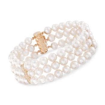 商品Ross-Simons 6-6.5mm Cultured Pearl 3-Row Bracelet With 14kt Yellow Gold图片