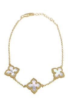 商品14K Yellow Gold Plated Mother of Pearl Flower Station Bracelet图片