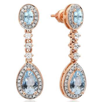 商品Dazzling Rock Dazzlingrock Collection 14K Pear & Oval Aquamarine & Round White Sapphire & Diamond Ladies Dangling Earrings, Rose Gold图片