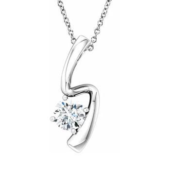 商品1/2ct Solitaire Round Moissanite 10k White Gold Pendant & Chain Womens Jewelry图片