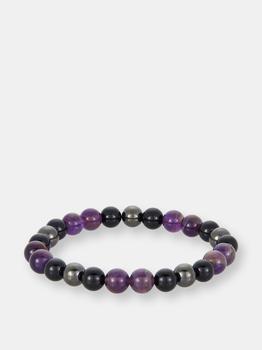 商品8mm Bead Stretch Bracelet Featuring Amethyst, Shiny Black Onyx and Magnetic Hematite图片