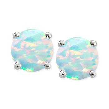 商品Cubic Zirconia Synthetic Opal Stud Earrings in Sterling Silver, Created for Macy's图片