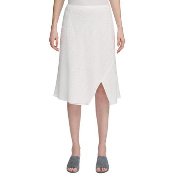 商品Calvin Klein Womens Eyelet Split Hem A-Line Skirt图片