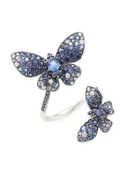 商品Butterfly 18K White Gold, Blue Sapphire & White Diamond Spiral Ring图片
