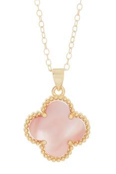 商品Adornia Pink Quatrefoil Necklace 14k Yellow Gold Vermeil图片