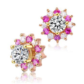 商品Megan Walford Gold Over Sterling Silver Clear and Pink Cubic Zirconia Flower Stud Earrings图片