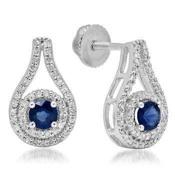 商品Dazzling Rock Dazzlingrock Collection 10K Round Cut Blue Sapphire & White Diamond Ladies Halo Style Drop Earrings, White Gold图片