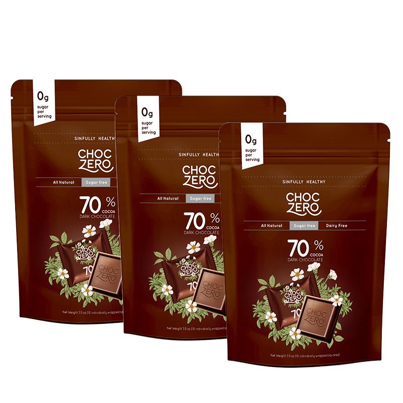 商品零巧无糖方块系列70&可可无糖黑巧100g*3包装 健身控糖黑巧图片