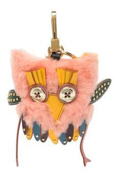 商品Burberry Mavis The Owl Shearling And Leather Charm In Antique Yellow图片