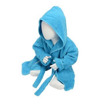 商品A&R Towels Baby/Toddler Babiezz Hooded Bathrobe (Aqua Blue) (12/24 Months)图片