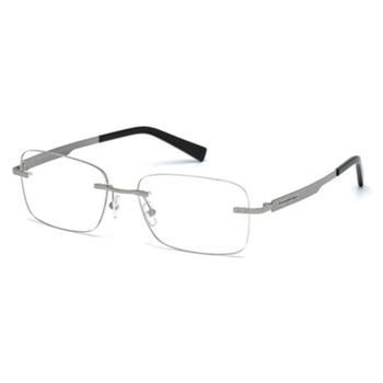 商品Ermenegildo Zegna Unisex Silver Tone Rectangular Eyeglass Frames EZ502601456图片