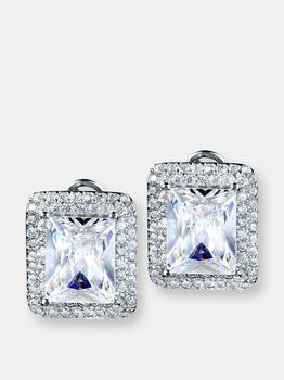 商品Elya Radiant-cut Cubic Zirconia Double Halo Sterling Silver Earrings (15 Mm)图片