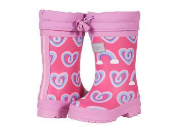 商品Twisty Rainbow Hearts Sherpa Lined Rain Boots (Toddler/Little Kid)图片