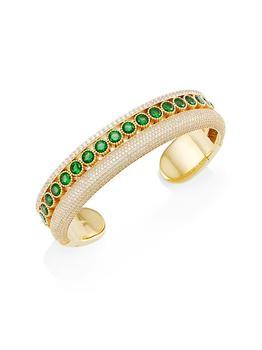 商品Stunner 18K Goldplated & Two-Tone Cubic Zirconia Faux Stack Cuff Bracelet图片