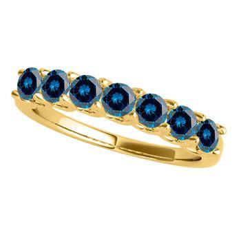 商品Maulijewels 3/4 Carat Blue Diamond Seven Stone Wedding Band In 14K Solid Yellow Gold图片