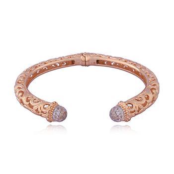 商品14k Rose Gold Over Bronze Cubic Zirconia Filigree Hinged Open Cuff Bracelet, 6.75''图片