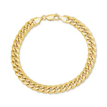 商品Men's Miami Cuban Link Bracelet in 10k Yellow Gold or 10k White Gold图片