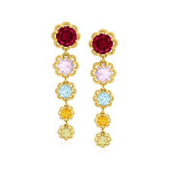 商品Ross-Simons Multi-Gemstone Floral Drop Earrings in 18kt Gold Over Sterling图片