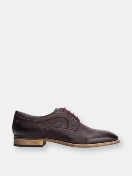 商品Base London Mens Softy Leather Brogue Shoe (Dark Red)图片