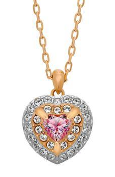 商品Crystal Stud Earrings & Heart Pendant Necklace Set图片