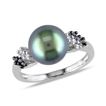 商品1/8 CT Black and White Diamond TW 9 - 9.5 MM Black Tahitian Pearl Fashion Ring 10k White Gold GH I2;I3 Size 8图片