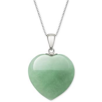 """商品Dyed Jade Heart 18"""" Pendant Necklace in Sterling Silver图片"""