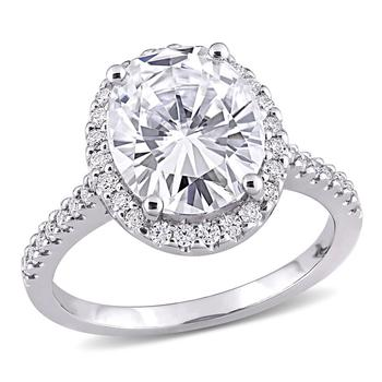 商品Amour Ladies 10k White Gold 5 Ct Oval Cut White Moissanite Halo Ring Size 7图片