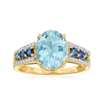 商品Ross-Simons Aquamarine, . Sapphire and . Diamond Ring in 14kt Yellow Gold图片