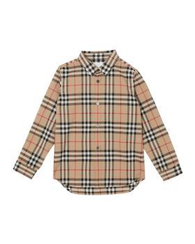 商品巴宝莉长袖格纹衬衫Fredrick Long-Sleeve Check Shirt, Size 3-14 图片