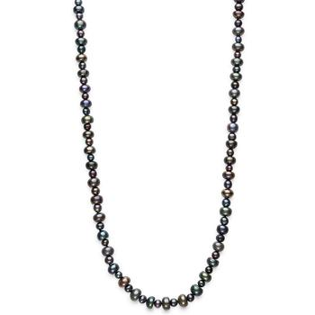 """商品Cultured Black Freshwater Pearl (5-9mm) Long 36"""" Endless Strand Necklace图片"""