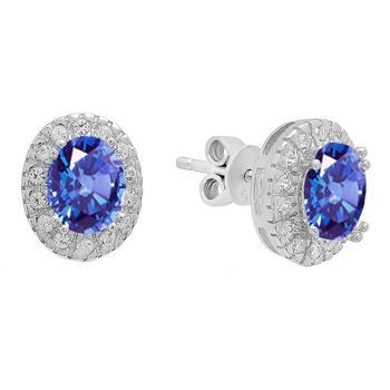 商品Dazzling Rock Dazzlingrock Collection Oval Cut Tanzanite & Round White Sapphire Ladies Halo Style Fashion Stud Earrings, Sterling Silver图片