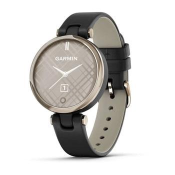 商品Lily™ Smartwatch Cream Gold Bezel with Black Case and Italian Leather Band图片