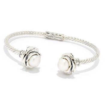 """商品Sterling Silver  6.5"""" Twisted Cable White Pearl Flower Hinged Bangle图片"""