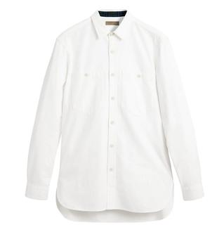商品Burberry Mens Cotton Oxford Shirt In White, Brand Size X-Large图片