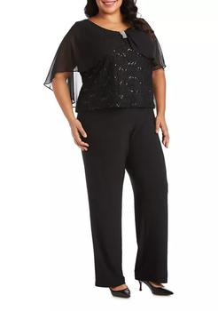 商品Plus Size Pinch Front Chiffon Lace Caplet Top图片