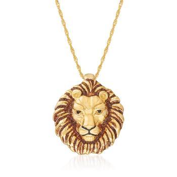 商品Ross-Simons Italian 18kt Gold Over Sterling Lion Head Pendant Necklace With Enamel图片